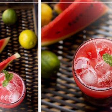 Cold black tea with watermelon and mint